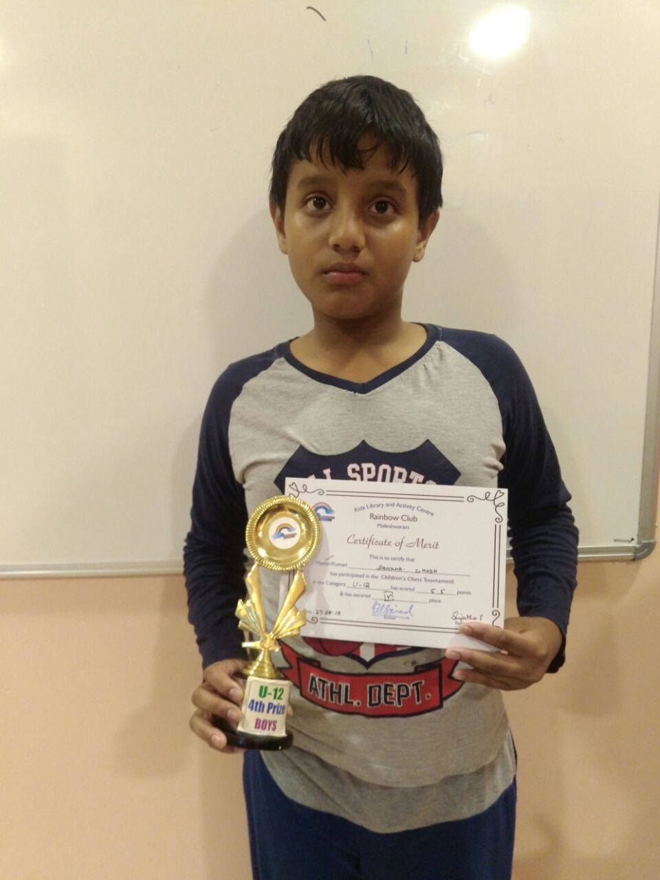 Sankha Ghosh places 4th in the U-12 Category of the Rainbow Rapid Chess Tournament with a score of 5.5/7 Rounds