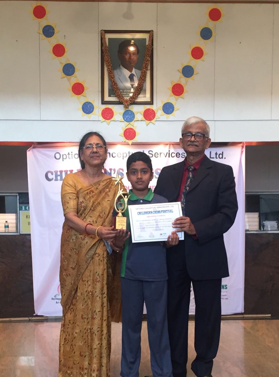 Congratulations to Mohnish Sarvanan for securing 1st place in the U12 Category of the East Point Interschool Chess Competition 2018
