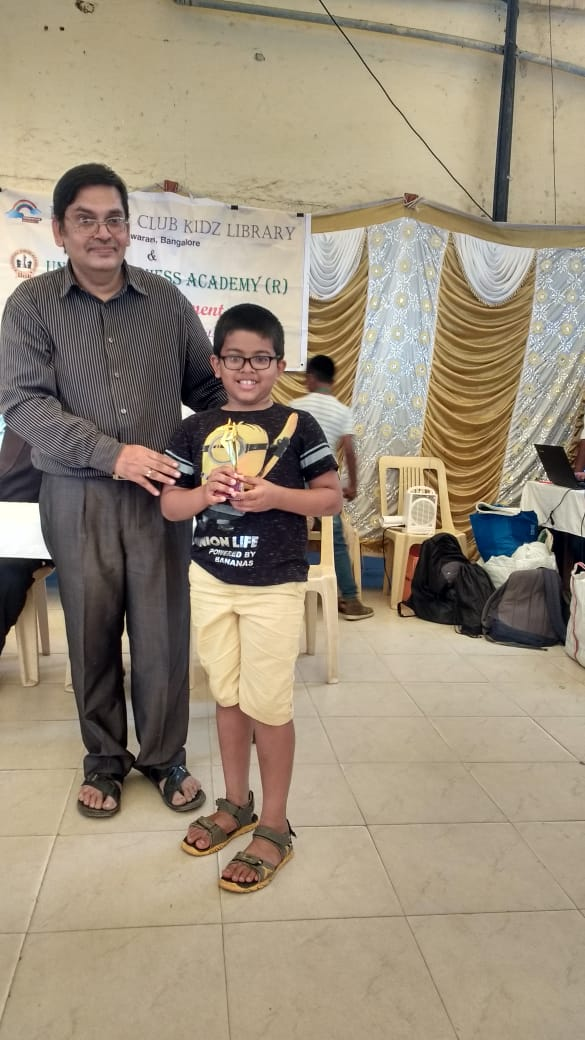 Congratulations to Niranjin Warrier for securing 4th place in the Rainbow kidz chess tournament held @ Malleswaram 2018