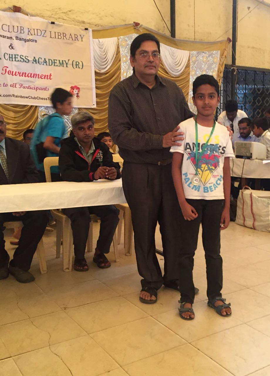 Congratulations to Mohnish Sarvanan for securing 5th place in the Rainbow kidz chess tournament held @ Malleswaram 2018
