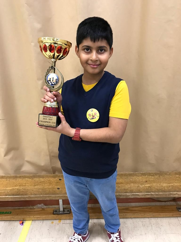 Vikrant Harihari Secures 1st place in U10 Category of the Grandpix - I Chess Tournament held in Canada
