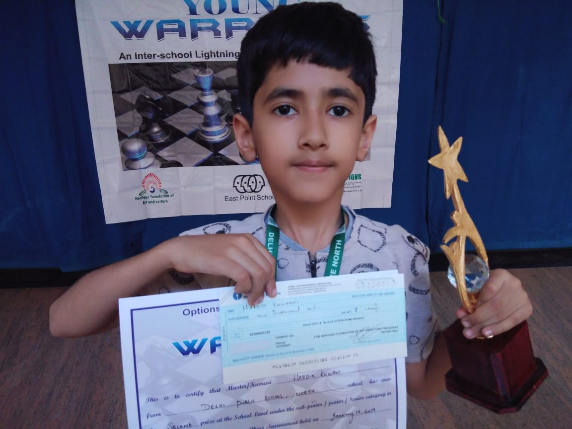 Congratulations to Hardik for securing 2nd place in the Eastpoint Interschool Chess Competition 2019 and winning a cash prize of INR 1000