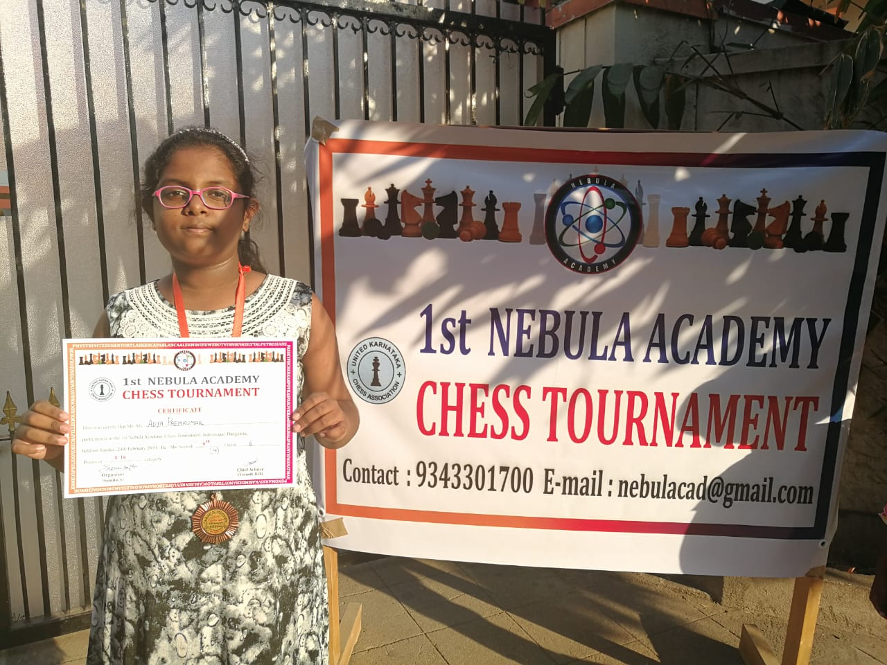Congratulations to Adya Premkumar for securing 8th place in the 1st Nebula Academy Chess Tournament Under 16 Category