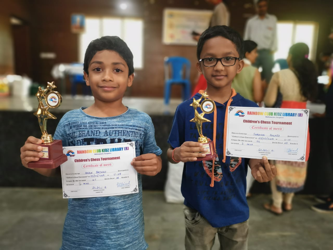 Congratulations to Arjun & Shravan for securing 2nd & 3rd place in their respective categories of the Rainbow Kidz Chess Tournament held in Malleswaram, Bangalore