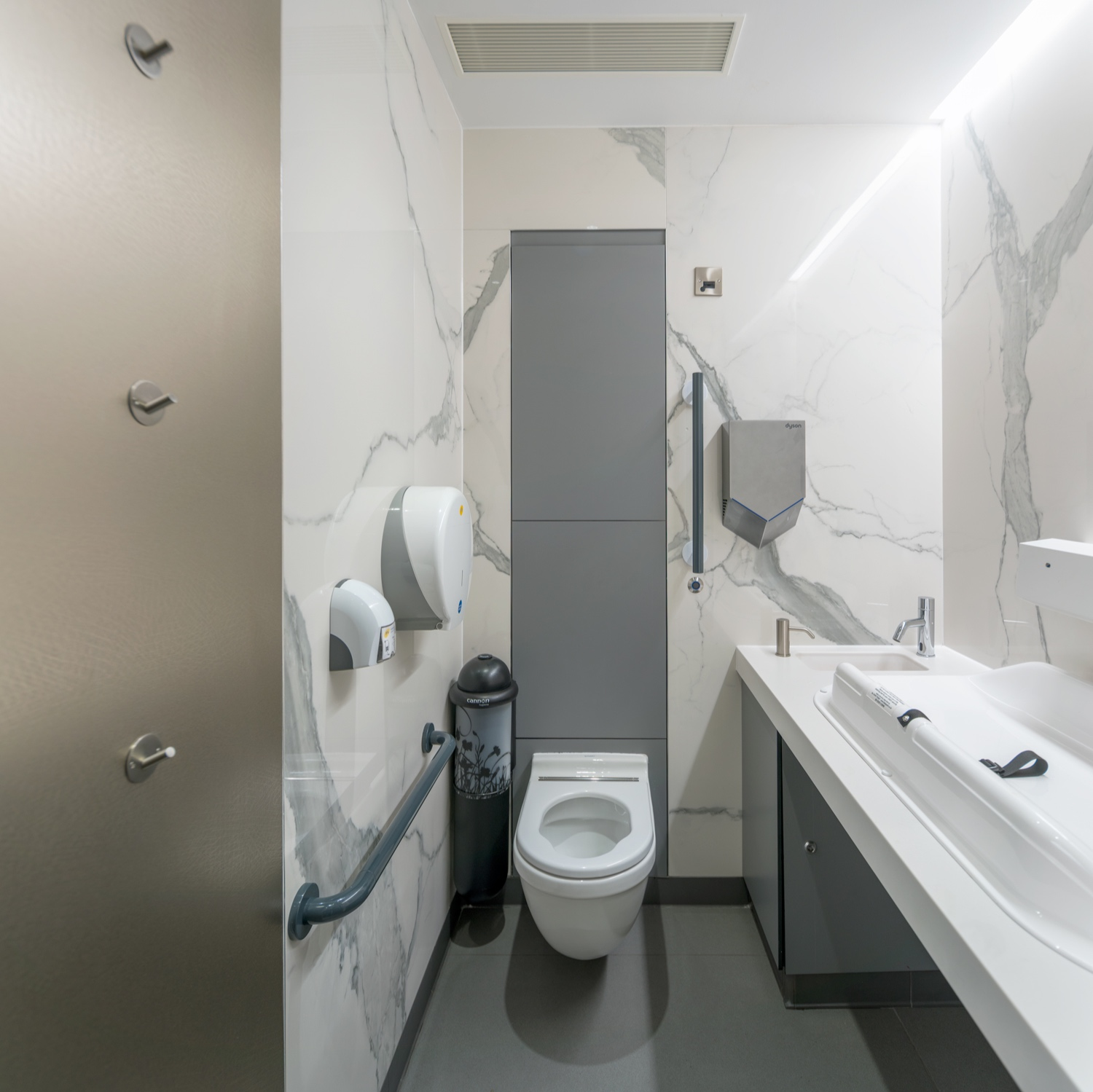 Enlarged 'Ambulant' WC and baby change facilities are provided with both female & male washrooms