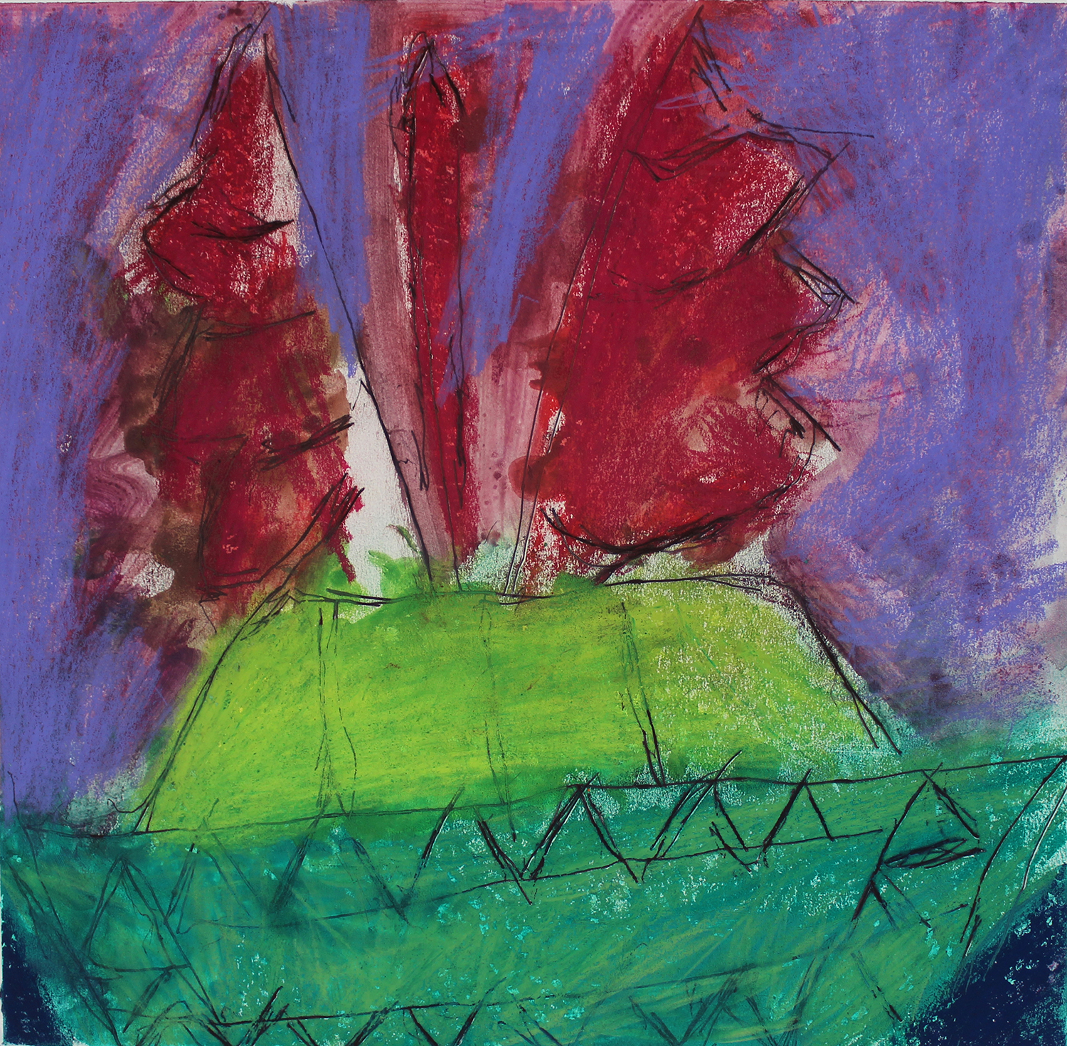 Green Boat Red Sail Purple Sky
