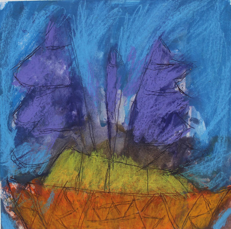 Orange Boat Purple Sail Blue Sky