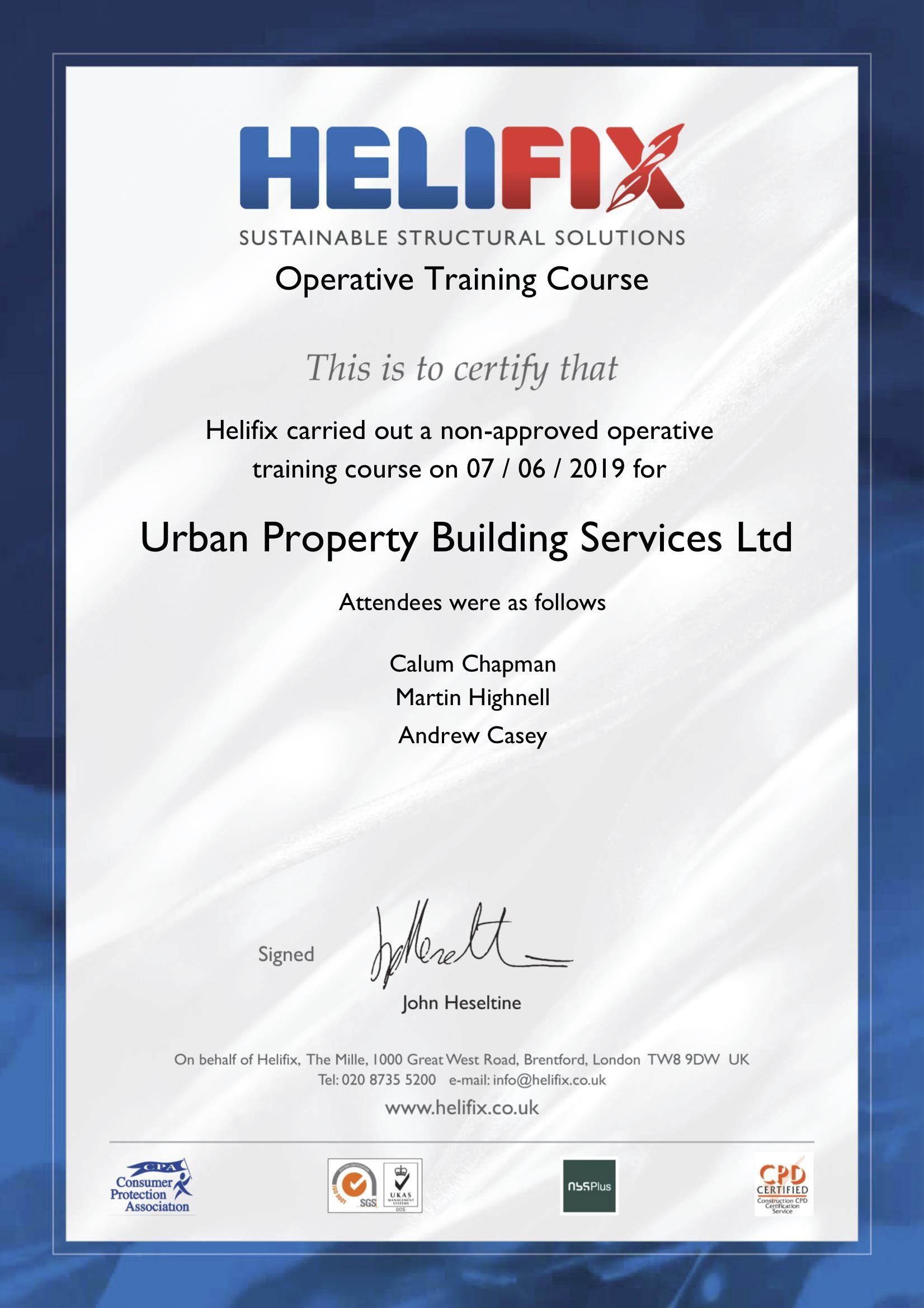 Helifix Operative Training Certificate