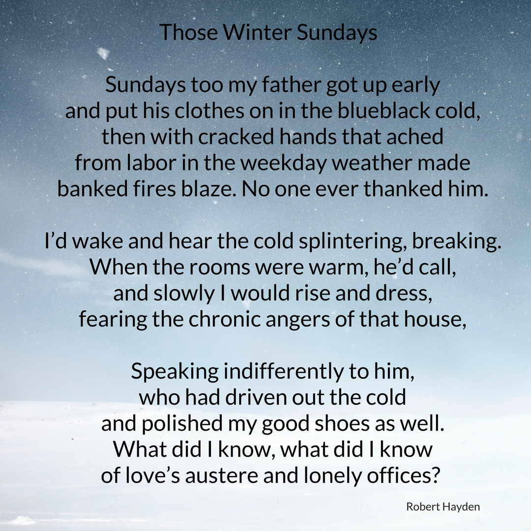 Those Winter Sundays BY ROBERT HAYDENSundays too my father got up early and put his clothes on in the.png