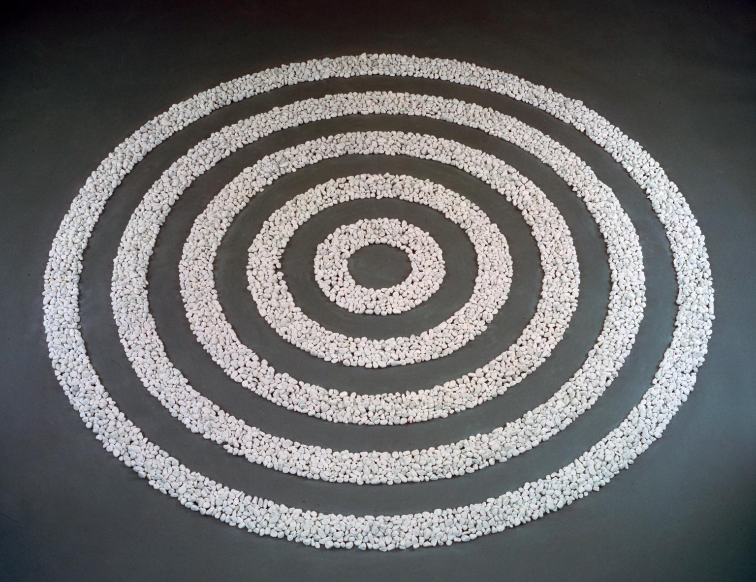 Small White Pebble Circles By Richard Long, Tate Modern