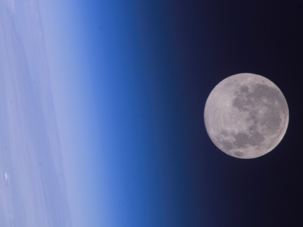 The full moon from the International Space Station