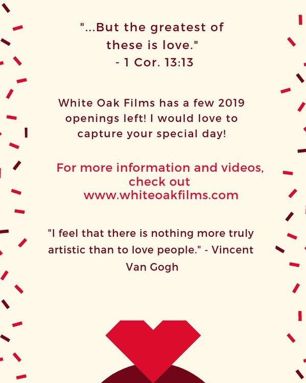 White Oak Films has a few openings for 2019 open! I would love to capture one of the best and monumental days of your life! Check out www.whiteoakfilms.com for more info! 💞