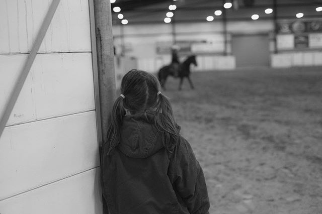 """""""Always try your best. You never know if there's a little girl watching and thinking, I want to be just like her."""" ❤️🐴 When I saw this sweet girl watching the trainer ride, my heart fluttered and I quickly grabbed my camera. More pics to come later today of this weekend's Colt Starting Competition!"""