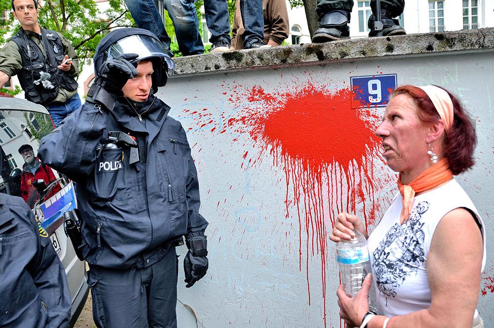 Woman and Policeman