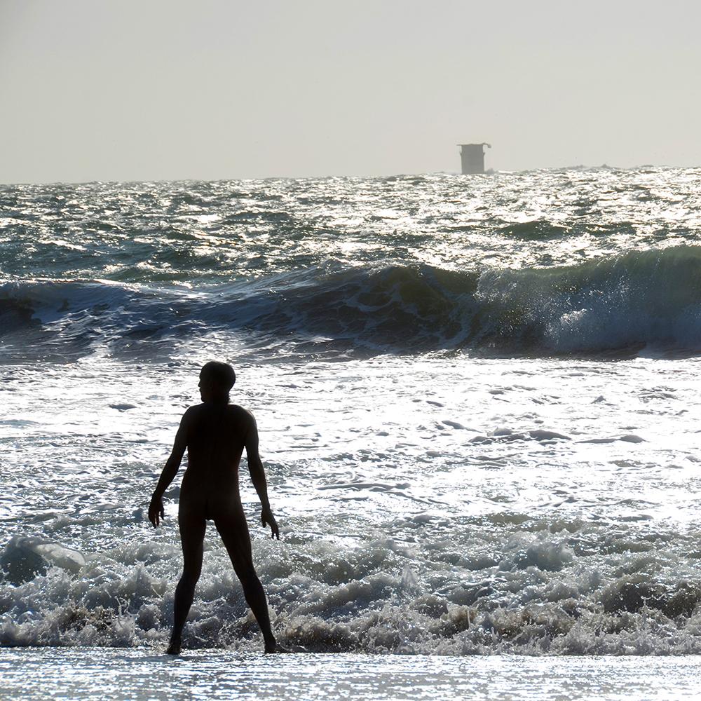 Nudist, Baker Beach, SF, 2014