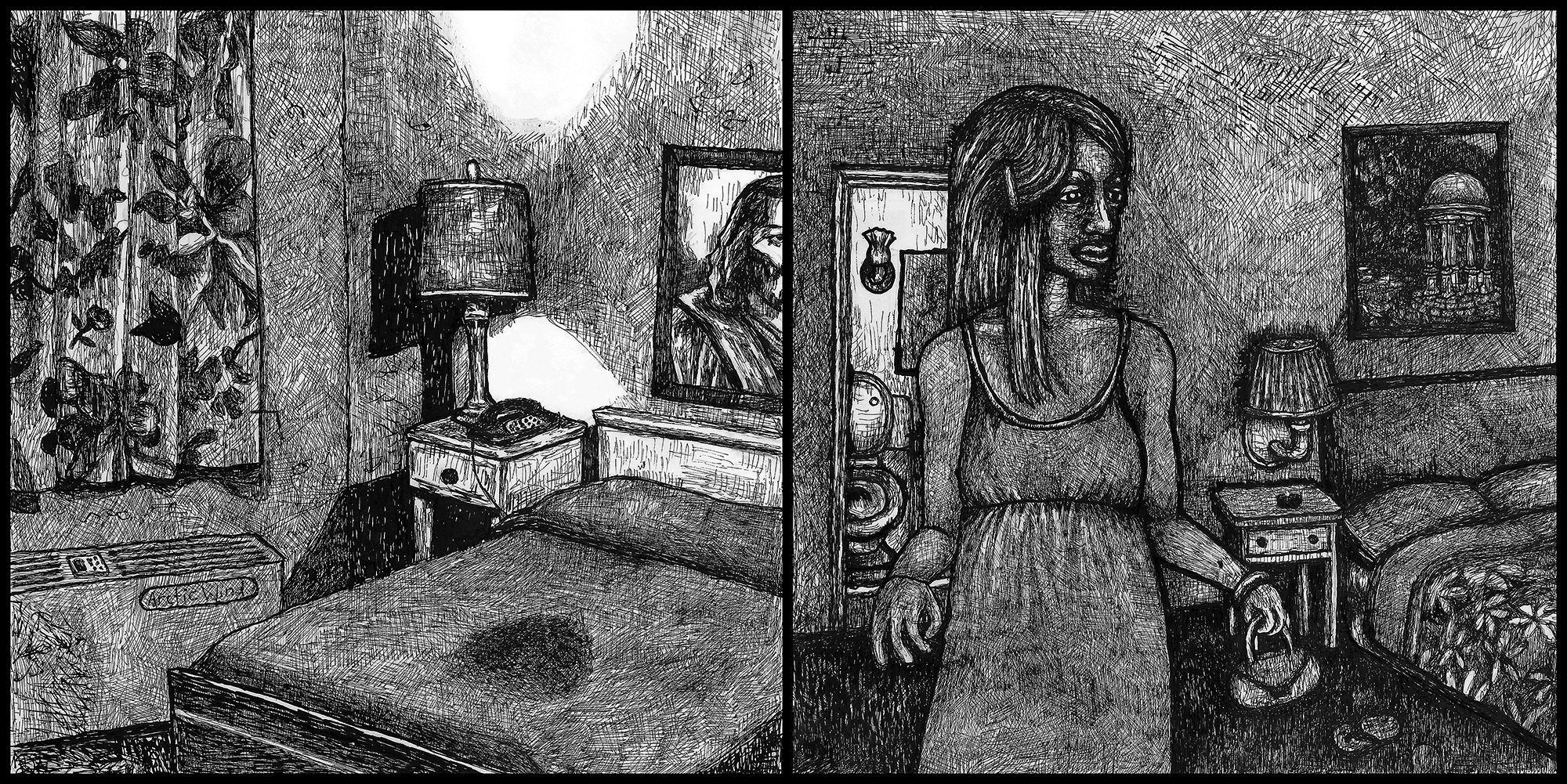 """Stain"" & ""Girl in Motel Room"" by Emily Hochman, 2009, ink on paper"