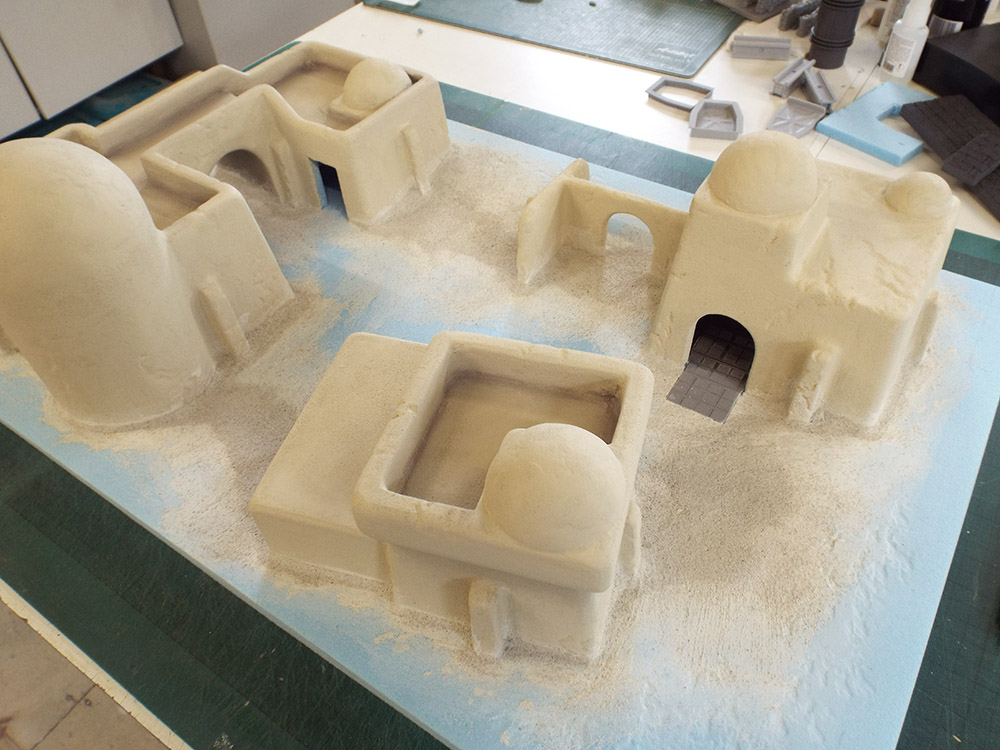 Buildings blended into base and base coat painted.