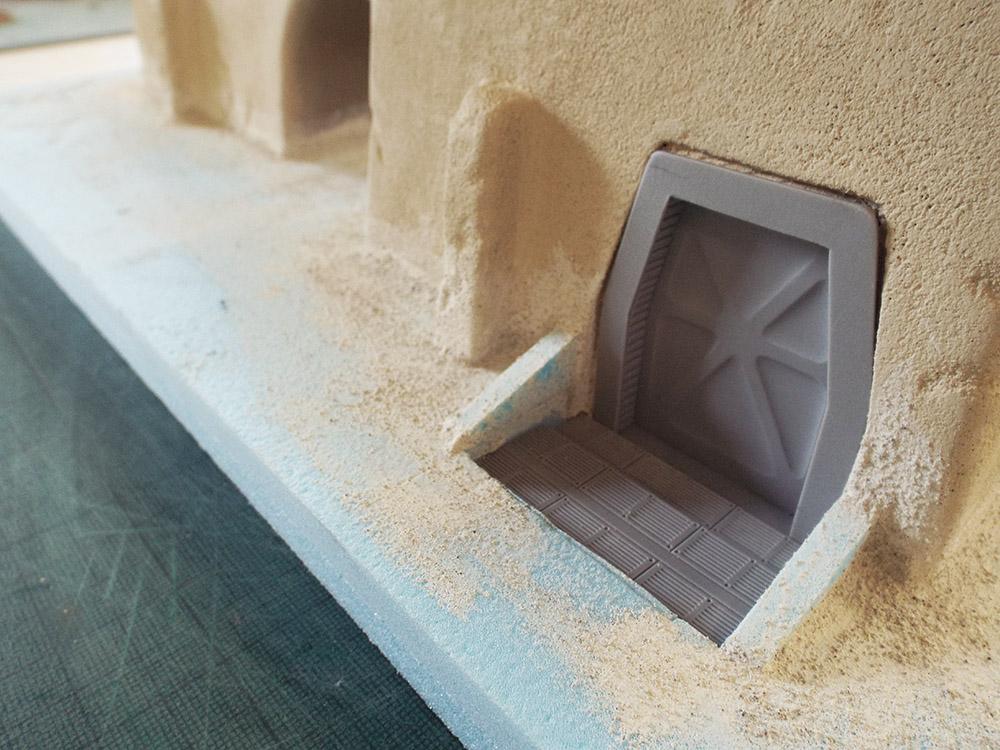 Test fit of a resin door.