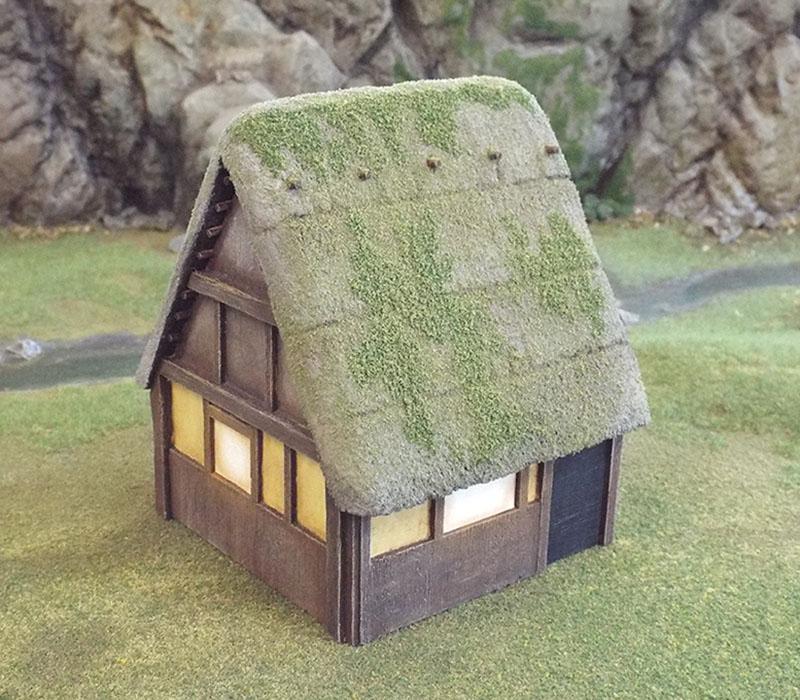 Light application of flock for moss.