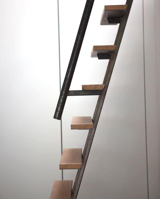 Custom ladder from steel and @dinesen heartoak.
