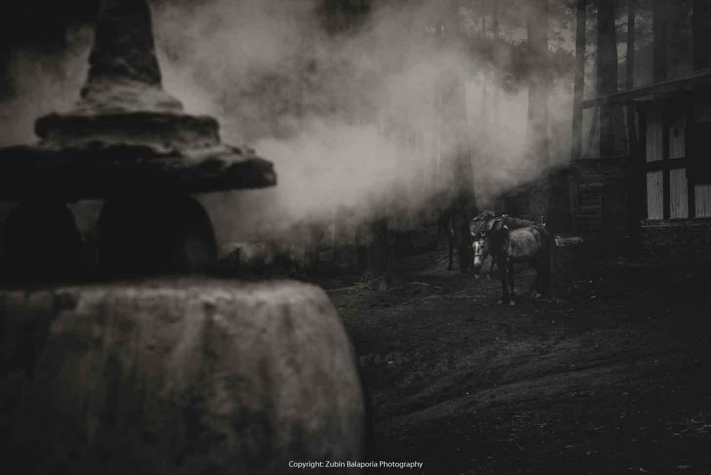 Charcoal Chorten, Horse & Smoke