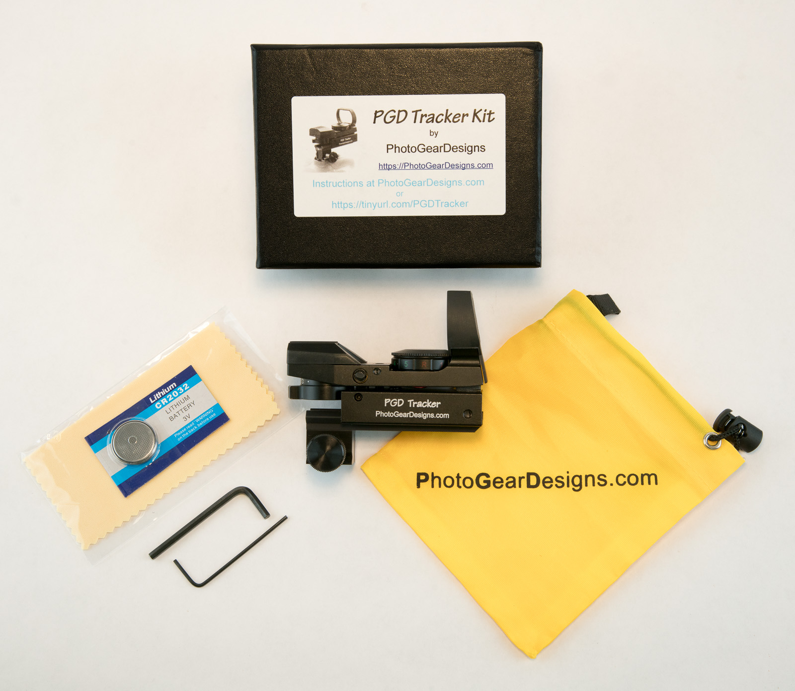 PGD Tracker Kit - Our combined expertise of design, development, and manufacturing - plus our passion for wildlife photography, led to forming Photo Gear Designs. We can now share our our unique solutions to photographic challenges with all of you and we are starting with the PGD Tracker Kit which includes the ESM-1 (external sight mount), and our own optical reflex sight, the PGD Tracker, specifically customized for photography.