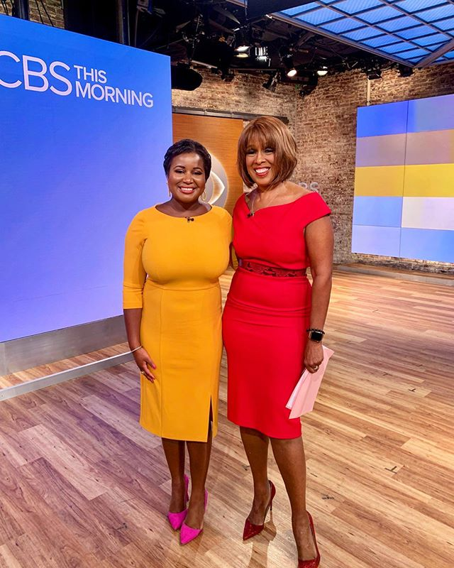 Our crepe dress as worn by Cyreia Sandlin, the AM anchor from @WTOC11 in SAV, GA; seen here with Gayle King on CBS This Morning. Available now on Amazon.  #donnamorgan #donnamorgan_nyc #effortlessfashion #summercollection2019 #workwear #effortlessstyle #daytonightdress #fashioncollection2019 #fashiondaily #dailystyle #casualchic #affordablestyle #9to5style #classystyle #workstyle #corporatestyle #daytonightstyle #prefallcollection2019 #professionalwomen #allseasondress #allseasonfashion   #repost @cyreia_s __________________  Back at work after such an amazing visit to @cbsthismorning ! Highlight of my trip was the opportunity to spend time with the legendary Gayle King. If you know me you know how passionate I am about morning news and to be able to talk about that passion with Gayle was a moment I will never forget. The morning I was there she interviewed the Secretary of State live in studio and was off to another big story right after our shoot. She works two jobs and does more in a day than most people will ever do in their entire careers! Not too long ago you didn't see a lot of women on national news, let alone women who looked like us. Thank you, Gayle, for being such an inspiration 🙌🙌🙌 I'll be sharing our interview very soon on WTOC!