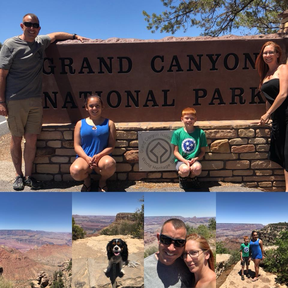 Enjoying the Grand Canyon as a family.  It was hot, the car ride was made interesting by a dog with some intestinal drama but overall everyone liked the experience.