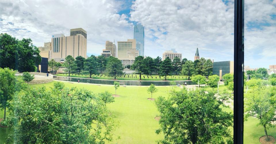 The grounds of the Oklahoma Bombing Memorial.  I can't believe how much history we all learned, the tears that were shed by all of us and the memory that will  be carried forward.