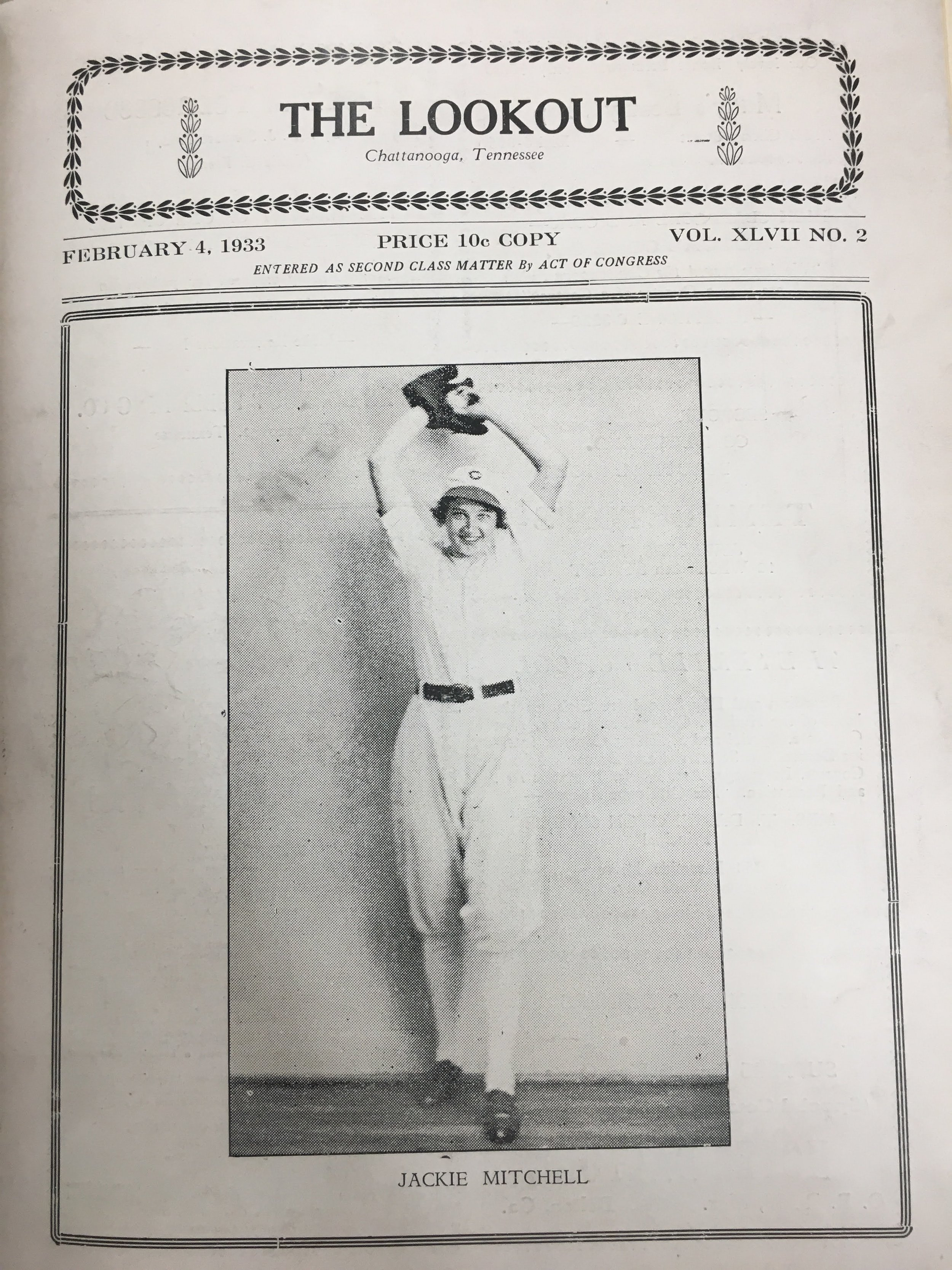 Jackie Mitchell poses for a photograph on the cover of the magazine The Lookout in February 1933. (Chattanooga Public Library archives)