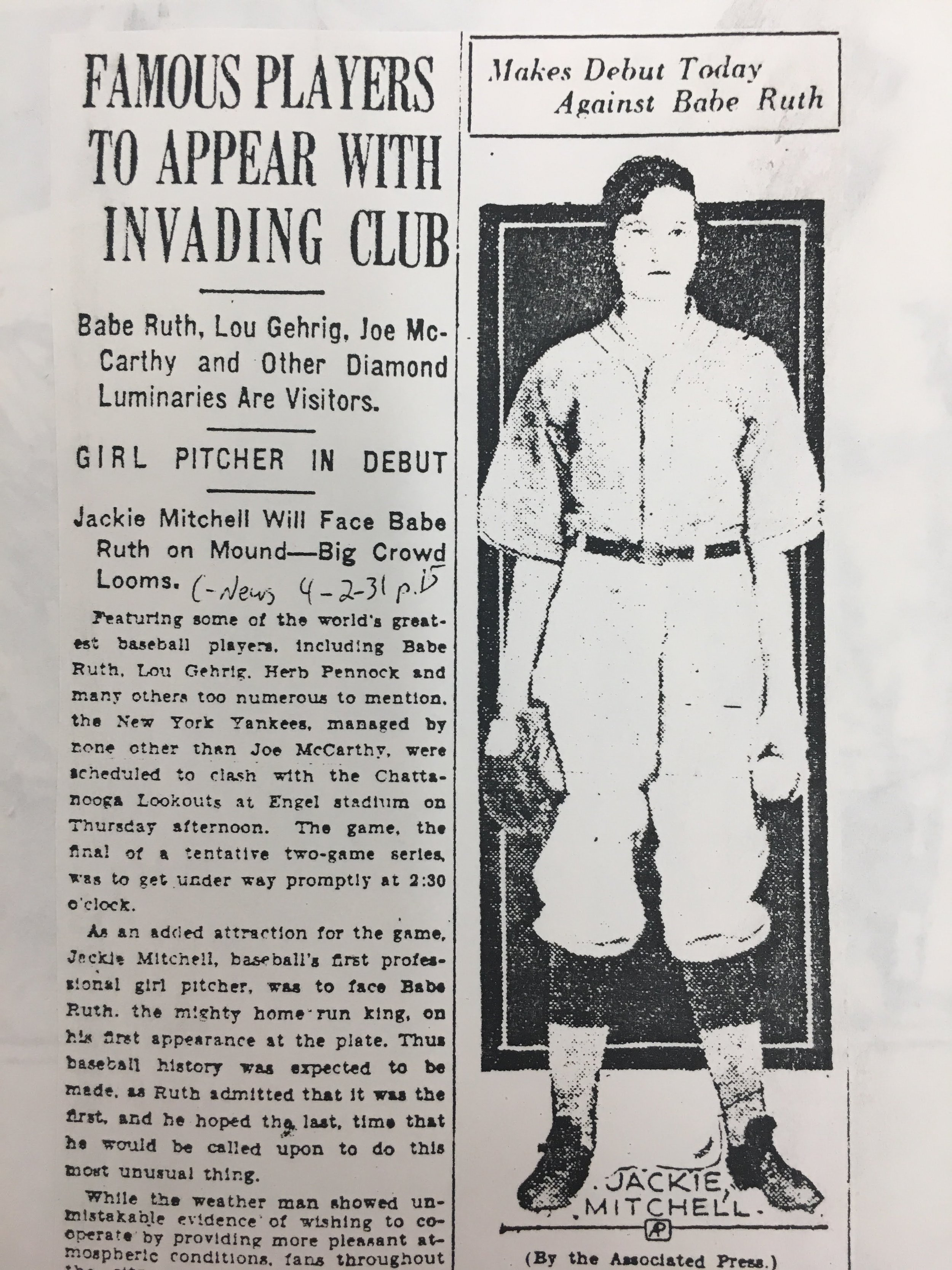 An article from the day Jackie Mitchell pitched against the Yankees appears in the Chattanooga News. (Chattanooga Public Library archives)