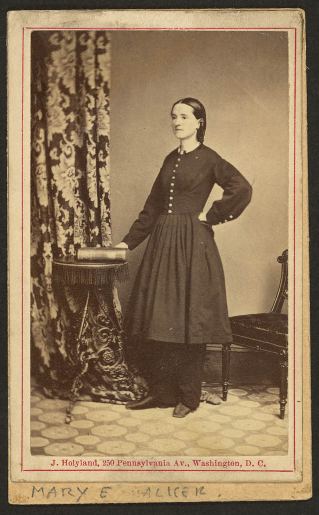 Mary Walker, wearing a dress over trousers, 1860. ( Library of Congress)