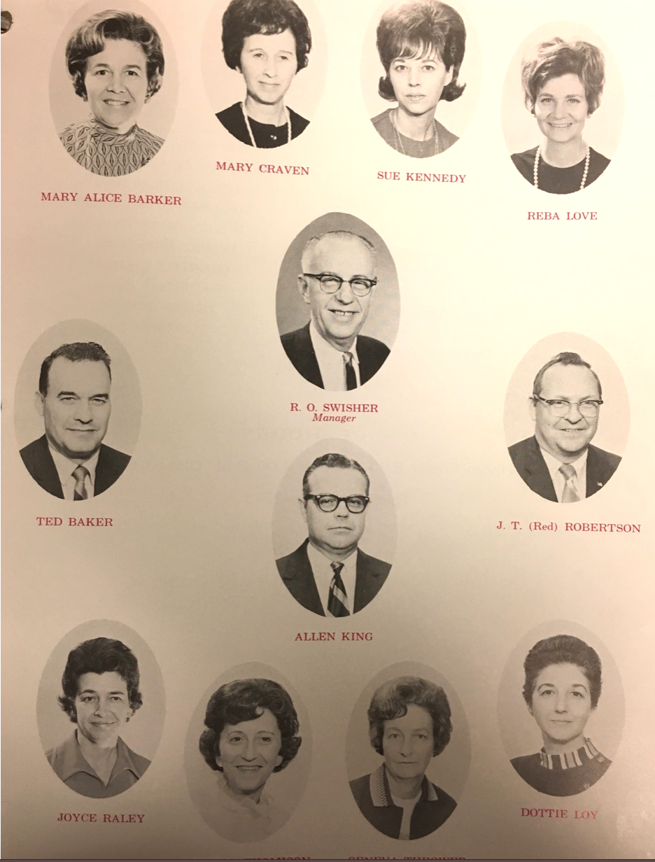 Office staff of TVA Employees Federal Credit Union, late 1960s. R.O. Swisher center, top.