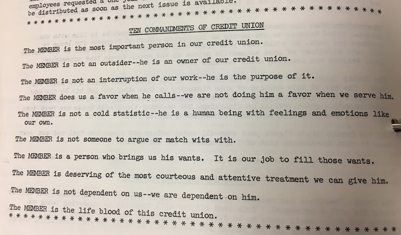"""The """"10 Commandments of Credit Union,"""" from 1963 TVA Employees Credit Union newsletter / Courtesy TVFCU"""