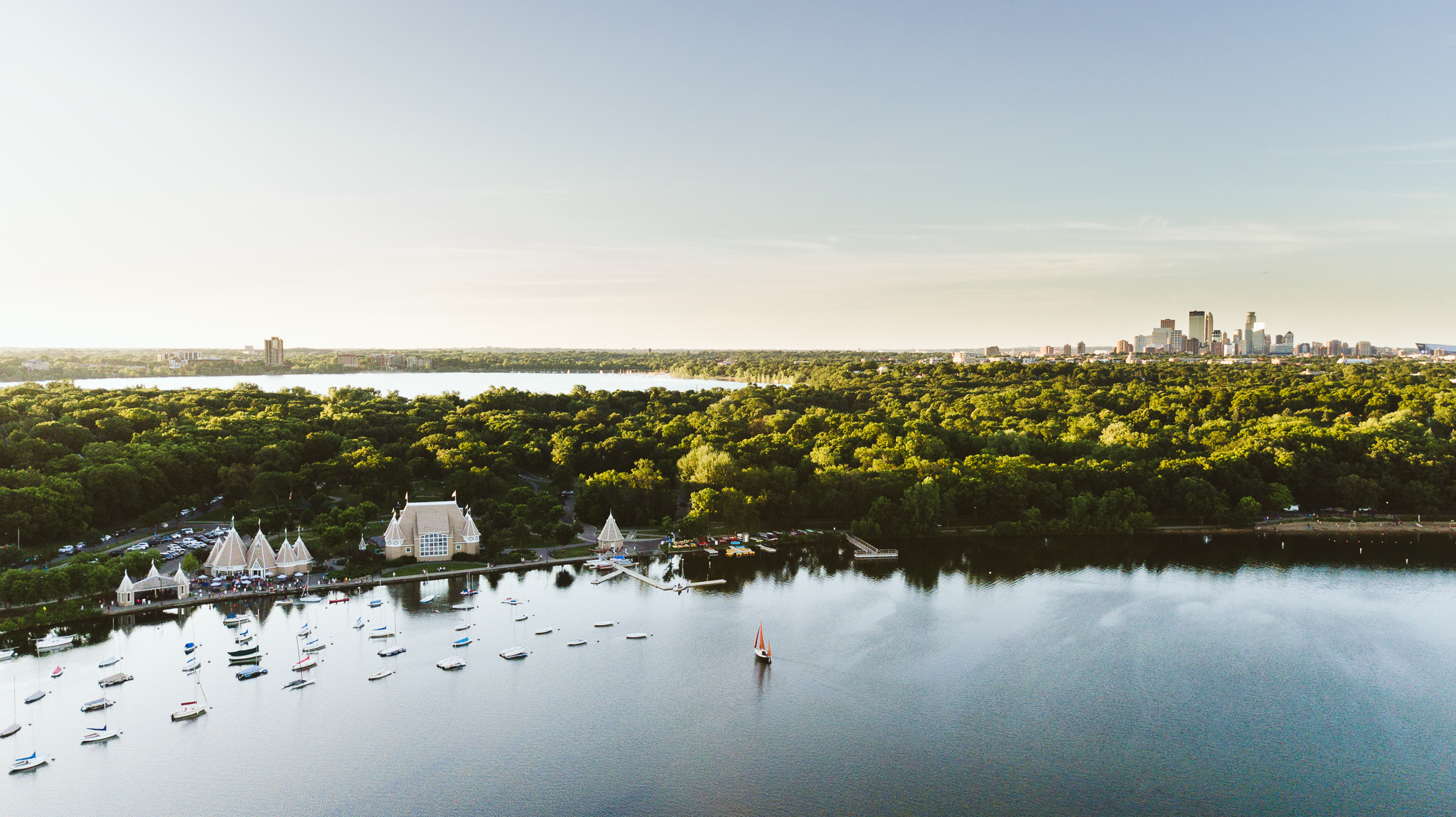 Drone photography over Lake Harriet in Minneapolis Minnesota
