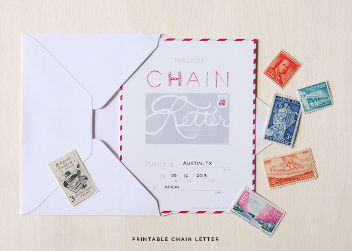 Printable Chain Letter Project