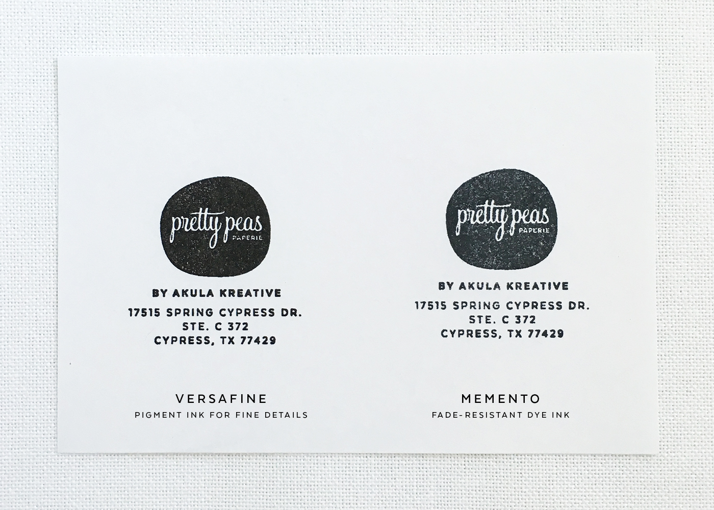 Black Stamp Pad Comparison | Copy Paper (VersaFine is excellent for tiny text and solids!)