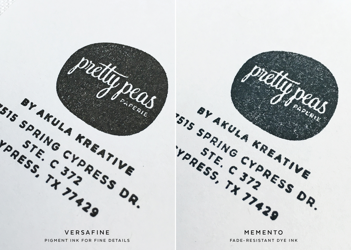 Black Stamp Pad Comparison | Tiny text and inverted designs (detail)