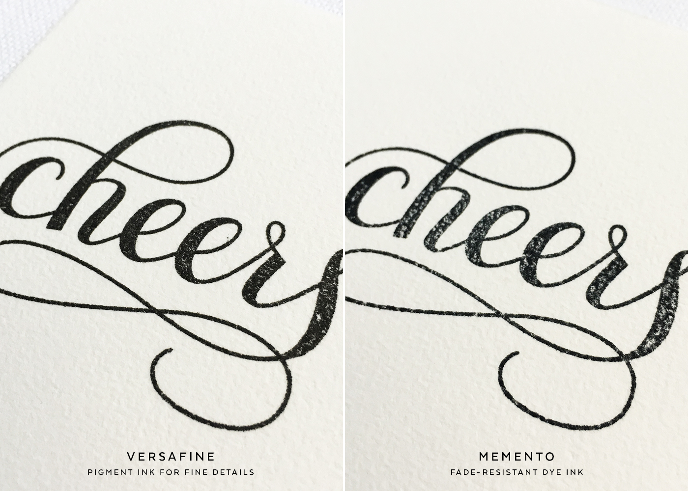 Black Stamp Pad Comparison | Watercolor Paper (Detail)