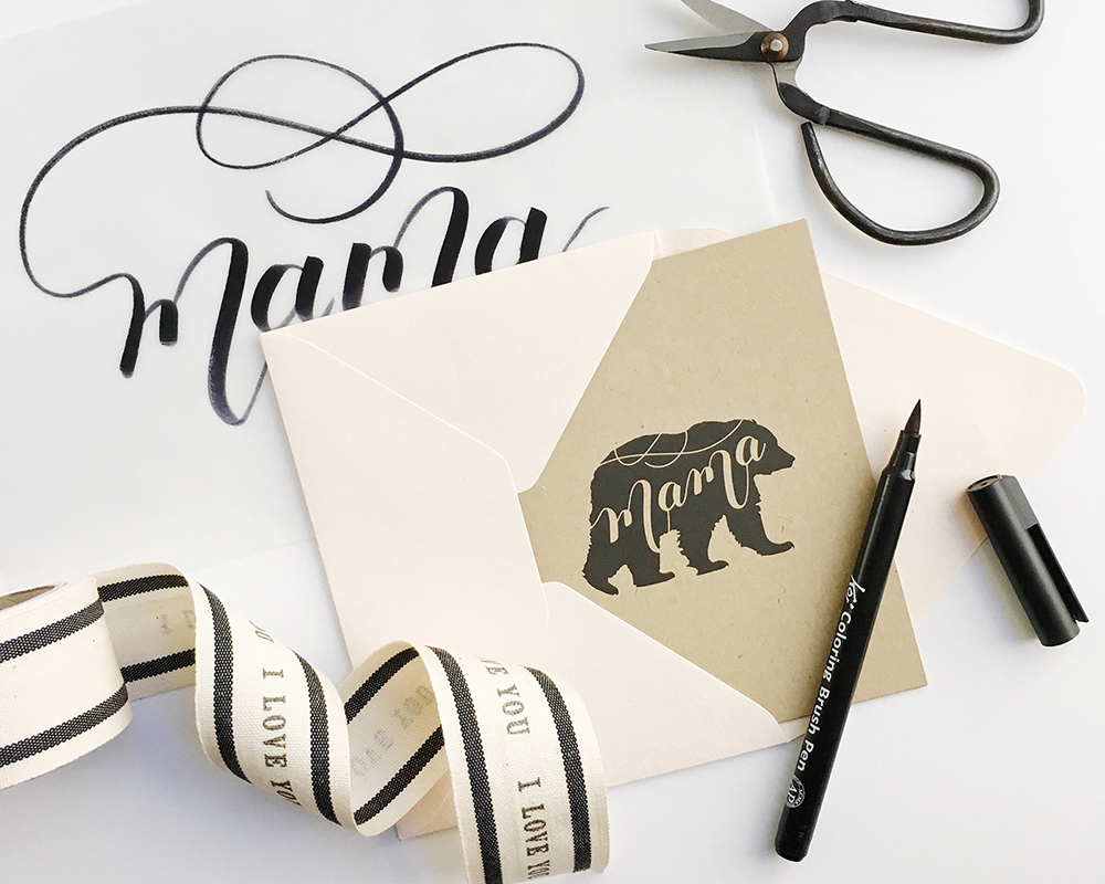 "Free Printable | Hand-Lettered ""Mama Bear"" Card for Mother's Day by Pretty Peas Paperie"