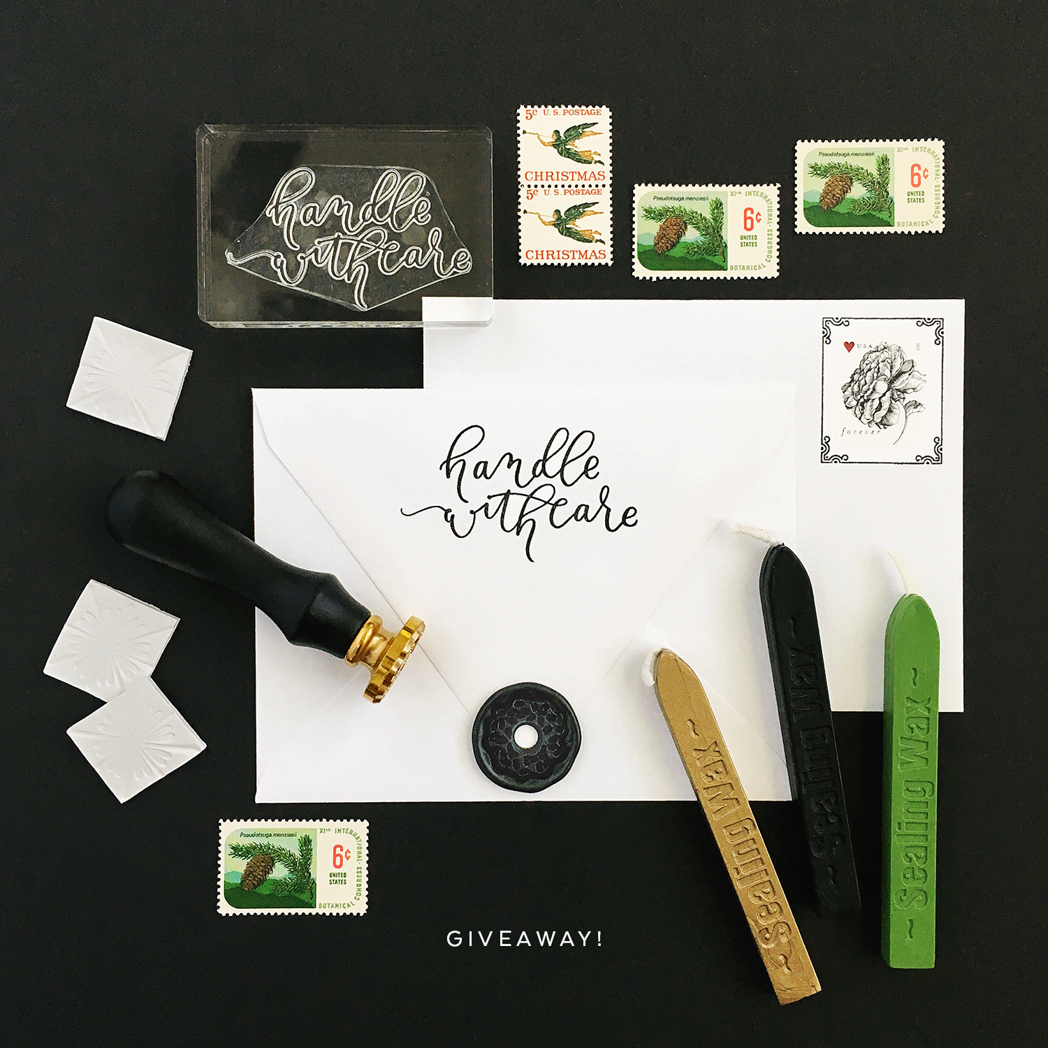 """Pretty Peas Paperie CHRISTMAS GIVEAWAY   Enter to win a wax seal stamp (and wax), a hand-lettered """"handle with care"""" stamp, and an envelope liner kit!"""