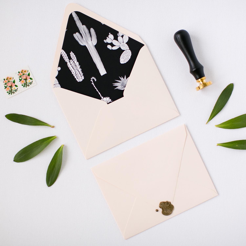 Free Envelope Liner Printable + Wax Seal Giveaway | Pretty Peas Paperie | Cacti