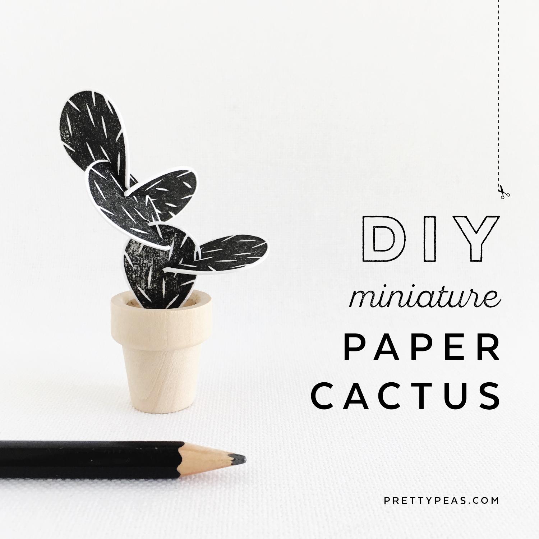 DIY [ mini ] Paper Potted Cactus | prettypeas.com