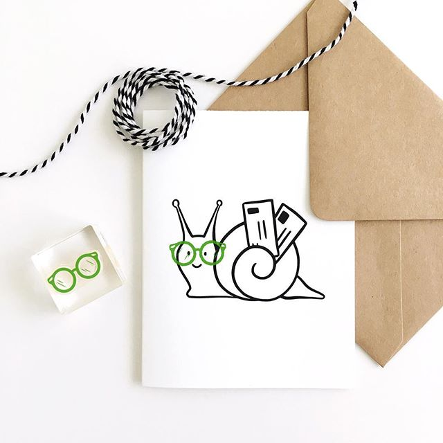 This FREE printable card just hit the blog! I really wanted to stamp these glasses on something, so I doodled a snail mail carrier that would fit them perfectly. 👓🐌✉️ 👉🏼 prettypeas.com/blog . This mini stamp is only $9 in the shop! Update: SOLD! (Don't worry...I'm making another printable for the big glasses. Stay tuned.) . . . . #rubberstamp #clearstamps #handstamped #freeprintable #mailday #handmade #etsy #papergoods #paperlove #snailmail #snailmailrevolution #happymail #sendmoremail #penpal #stationery #stationerylove #snailmailrevival #craftsposure #flashesofdelight #stationeryaddict #shopsmall #texasmade #htx #prettypeaspaperie