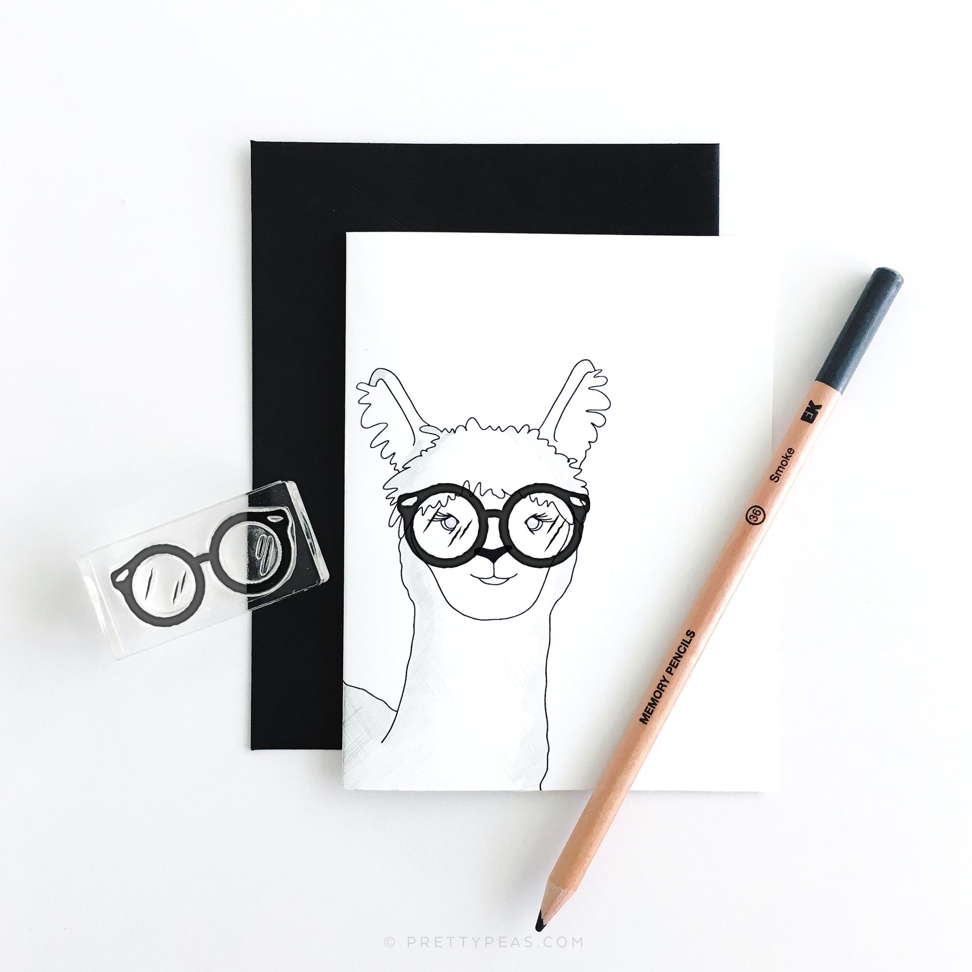 Free Printable | Alpaca (Llama) Blank Card | prettypeas.com