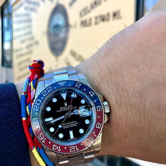 """The Rolex GMT-Master II in white gold with the """"Pepsi"""" cerachrom bezel. #116719 #blro #redbandsociety #gmtmaster2 #rolex #nantucket"""