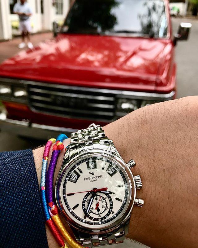 Patek Philippe Annual Calendar Chronograph ref. 5960 and a restored Toyota Land Cruiser fj62. #patekphilippe #5960 #chronograph #fj62 #nantucket #trinitycollection