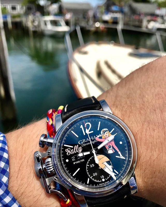Good afternoon, Sally. The Graham Chronofighter Vintage Nose Art 'Sally' is part of a series of four very limited edition models, each one featuring a painted belle against a 'sunbrushed' dial. They are hand painted with a single strand of hair for the precise and small details. #grahamwatches #chronofighter #pinupgirl #handpainted #nantucket #trinitycollection