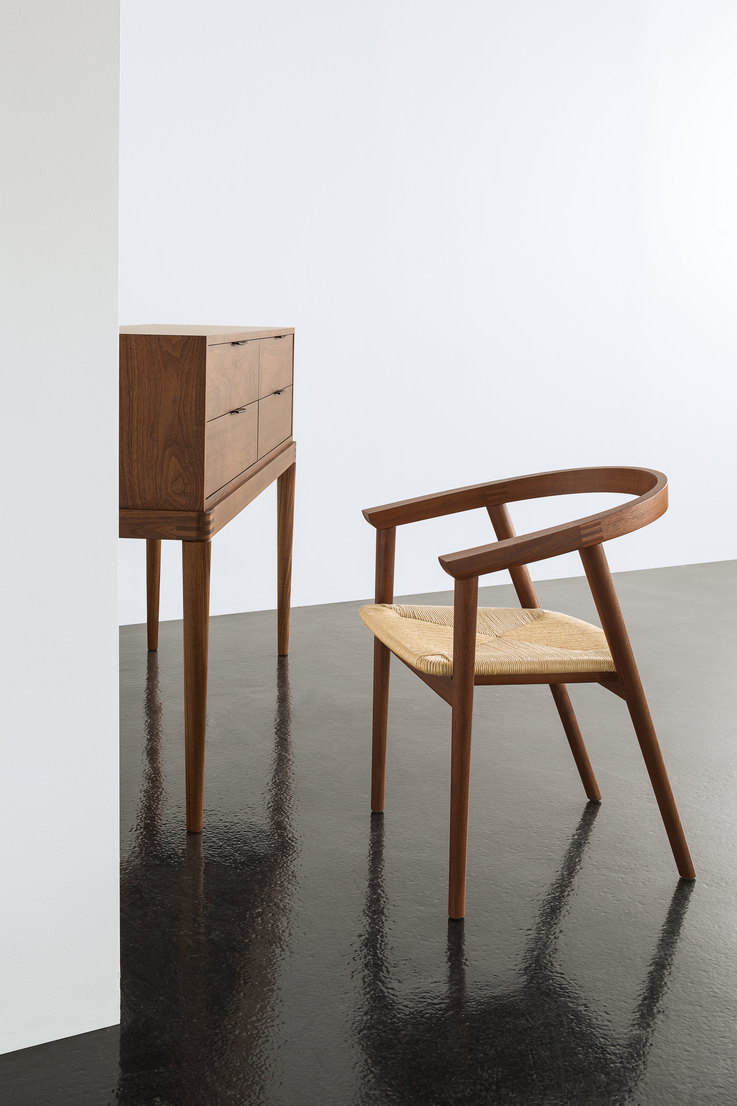 > Cumberland Chair with woven rush seat.