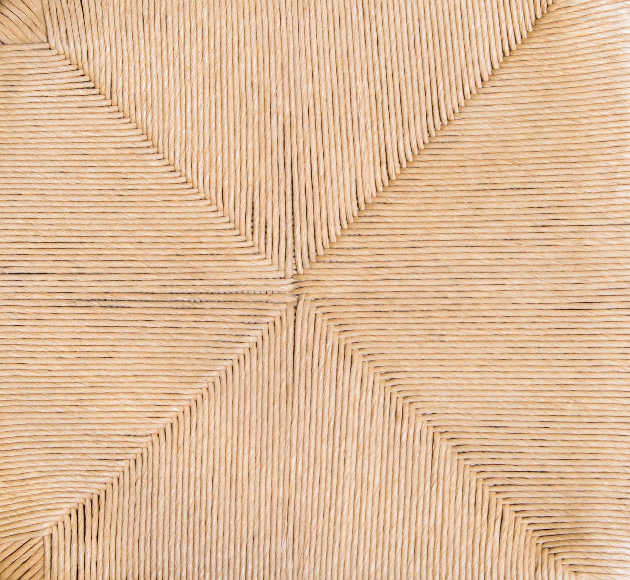 > Detail of Cumberland Chair;woven rush seat.